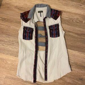 Kendall and Kylie denim sleeveless shirt small